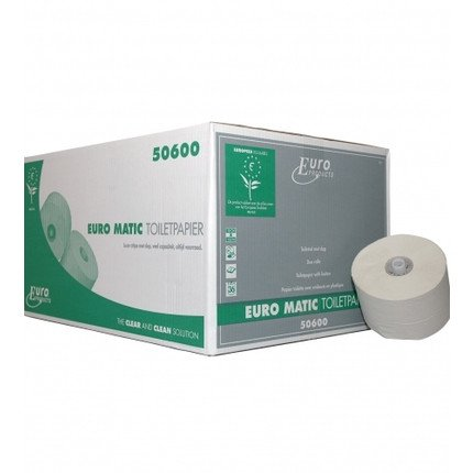 Euro Products | Toiletpapier 1-laags | Doppenrol | Recycled wit | 36 x 150 meter
