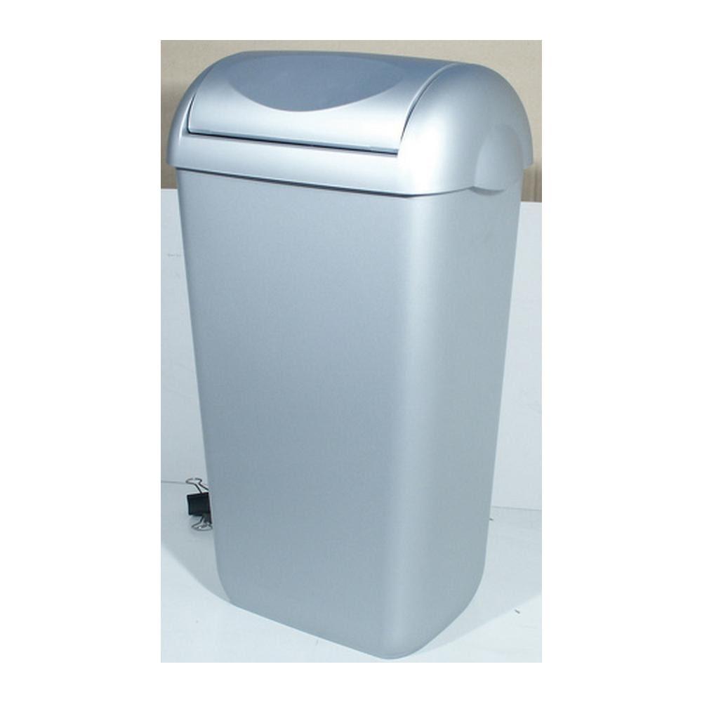 PlastiQline afvalbak swing deksel kunstof RVS look 43 liter