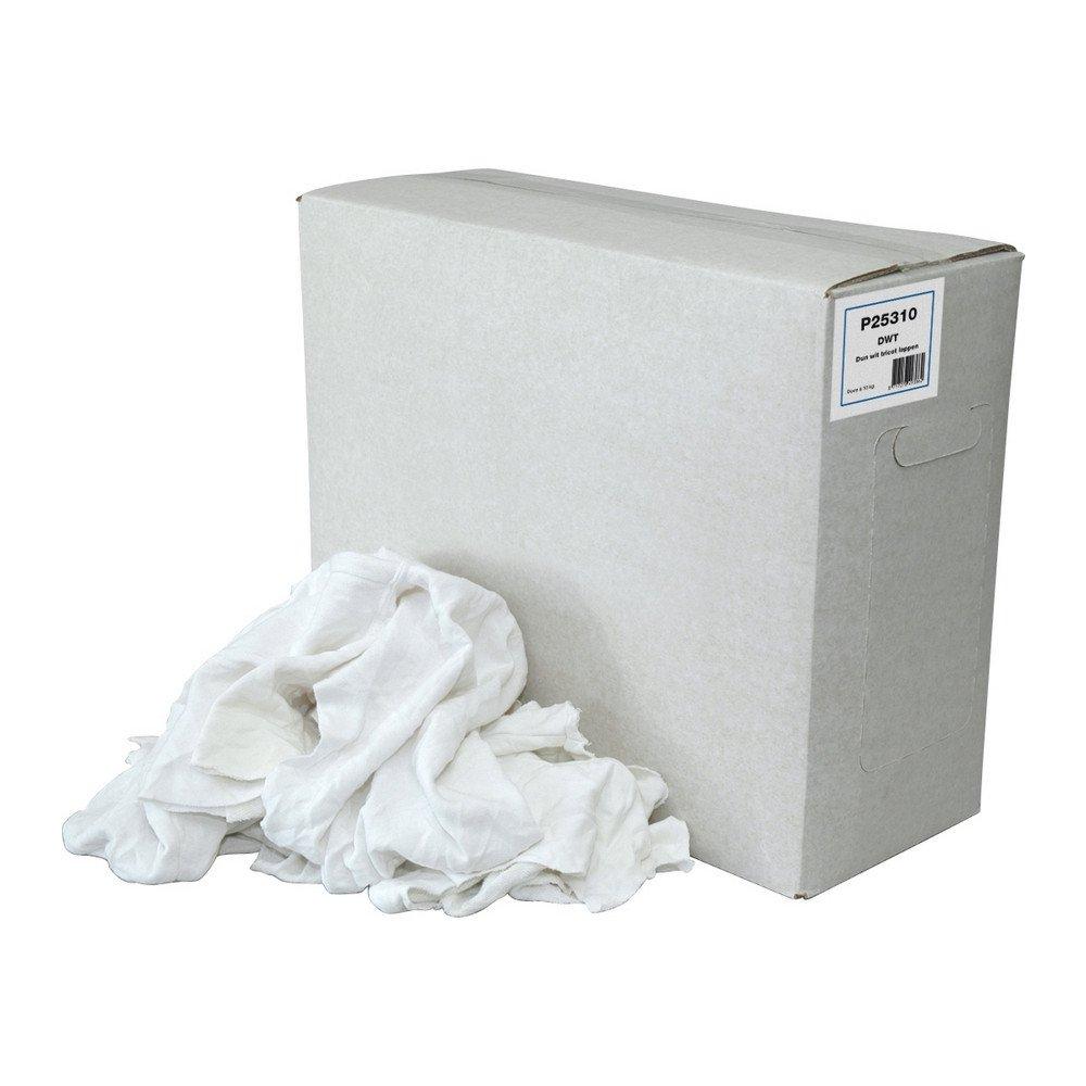 Poetsdoek tricot dunne lappen wit doos 10 kg