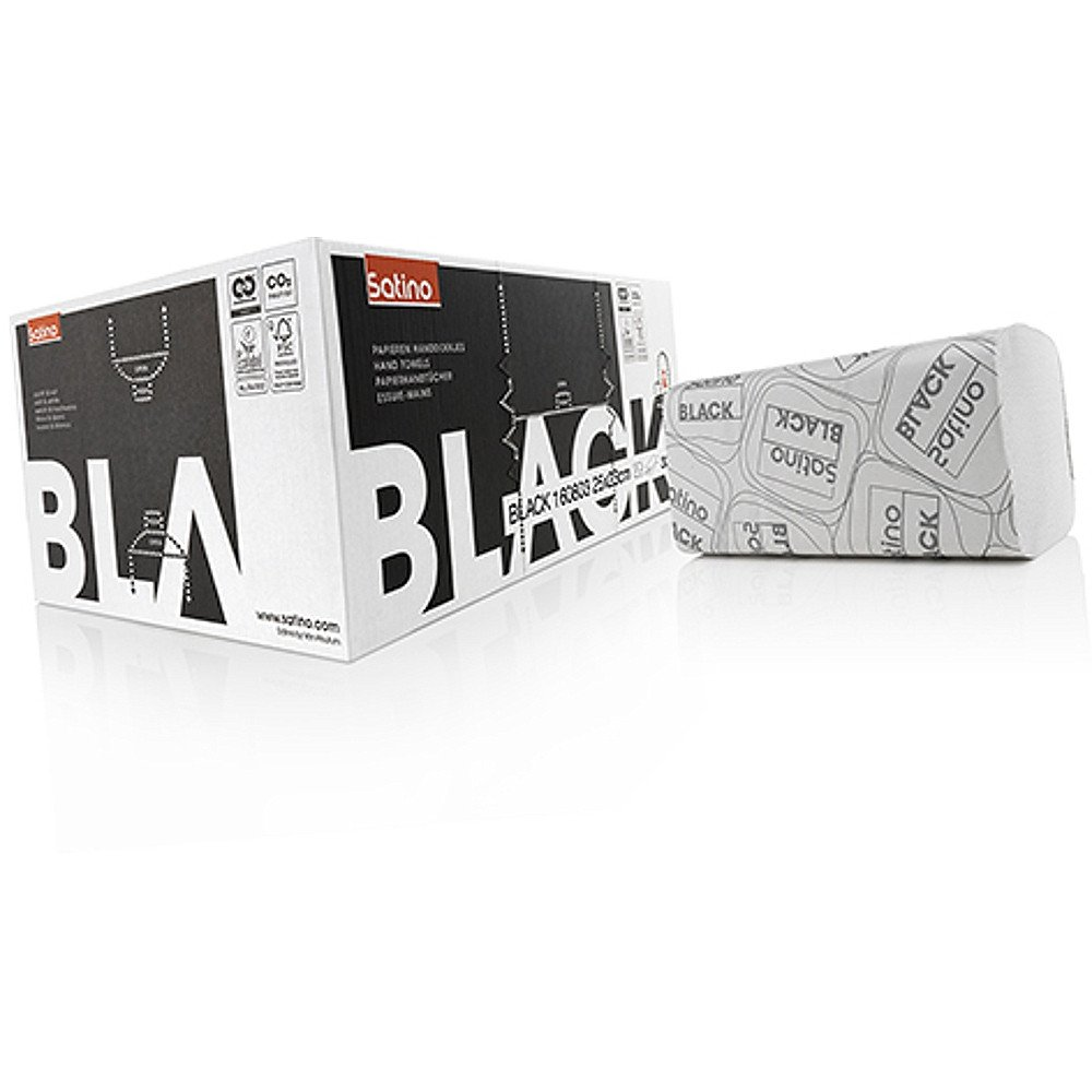 Satino black | Z-vouw handdoekjes 2-laags | 25x23 cm | 3200 stuks
