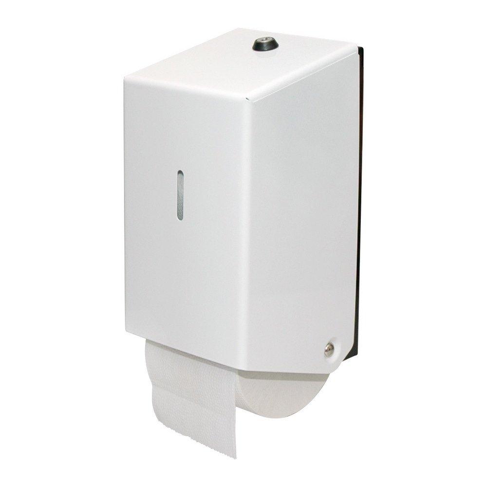 Euro Products | Toiletpapierdispenser | Doprollen | Gemoffeld staal | Wit