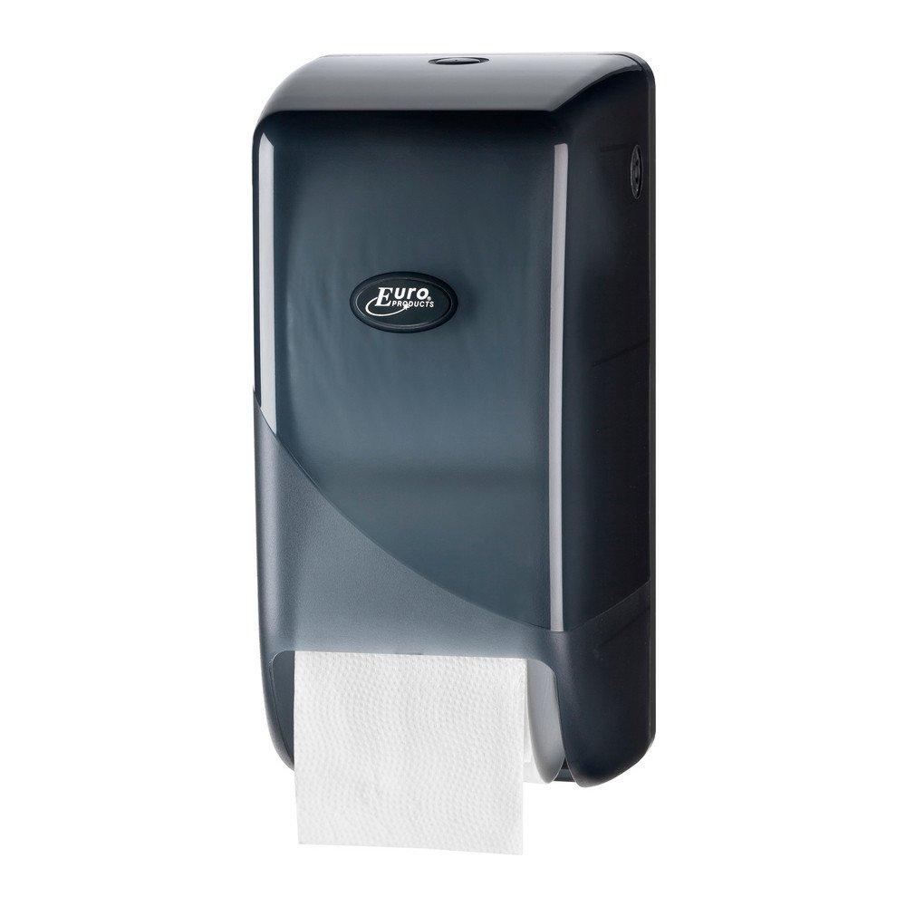 Toiletpapierdispenser voor doprollen kunststof zwart
