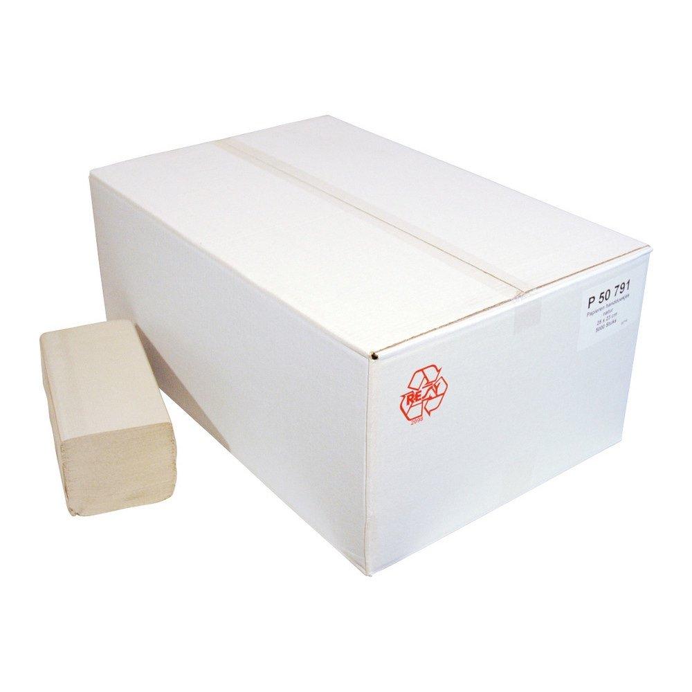 Euro Products | Vouwhanddoekjes 1-laags naturel | Z-vouw | 23 x 25 cm | 5000 stuks