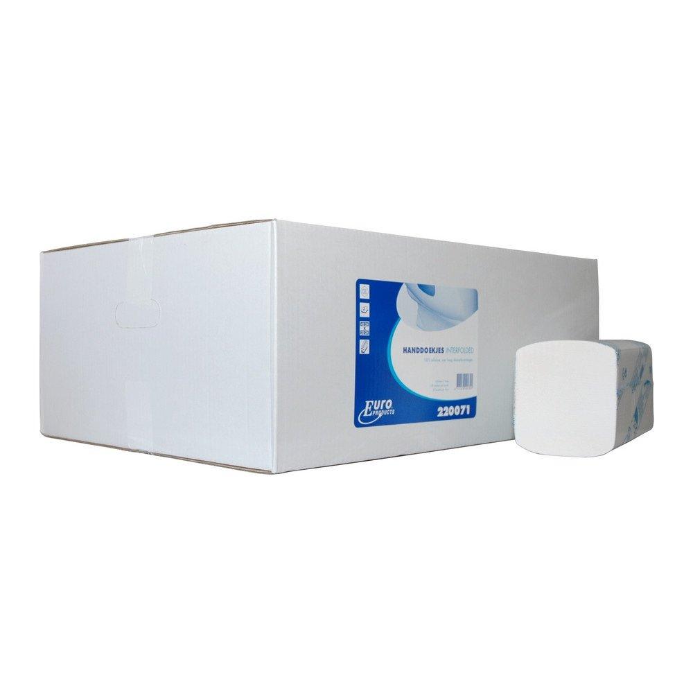 Euro Products | Interfold vouwhanddoekjes | Cellulose 2-laags | 21 x 42 cm | 2400 stuks