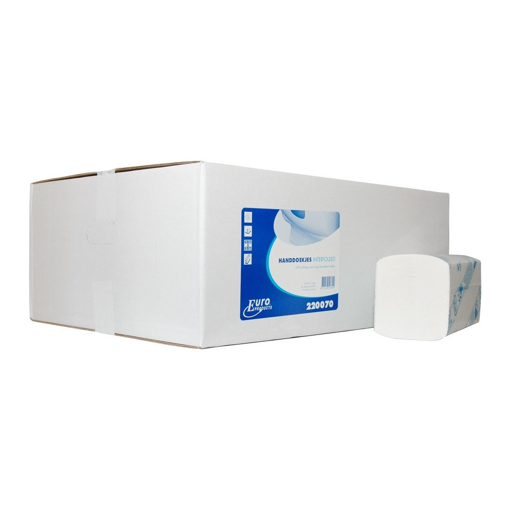 Euro Products | Vouwhanddoekjes 2-laags | Interfold | Cellulose | 22 x 32 cm | 3200 stuks