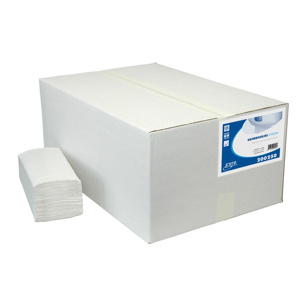 Euro Products | Z-vouwhanddoekjes | 1-laags recycled | 23 x 25 cm | 5000 stuks