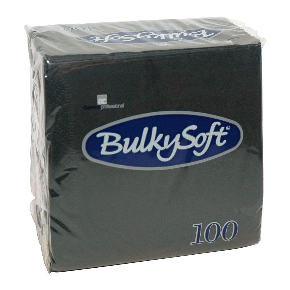 Bulkysoft Gekleurde servet 2-laags zwart 1/4 vouw 24x24cm 3000 stuks
