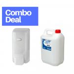 Zeepdispenser + navulflacon+ 5 liter antibacteriële handzeep jerrycan