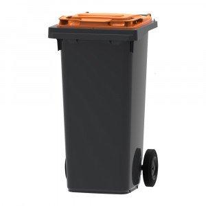 Mini-container 120 liter grijs/oranje