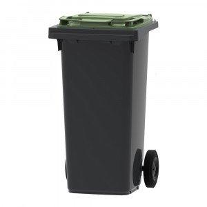 Mini-container 120 liter grijs/groen