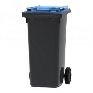 Mini-container 120 liter grijs/blauw