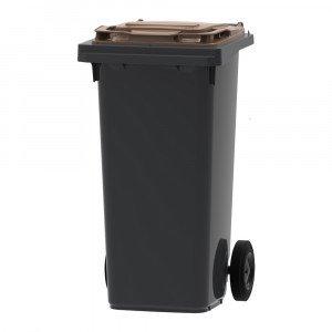 Mini-container 120 liter grijs/bruin