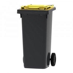 Mini-container 120 liter grijs/geel