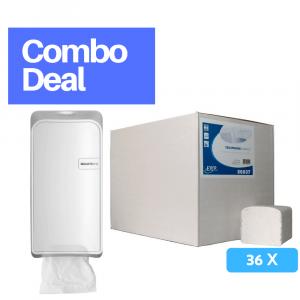 Quartz Bulkpack Toiletrolhouder wit + toiletpapier 2-laags 36 x 250 vel