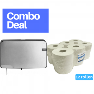 Quartz Mini Jumbo Duo Toiletrolhouder zilver + 4UStore Mini Jumborol 2-laags recycled 12 x 180 meter