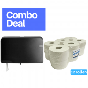 Quartz Mini Jumbo Duo Toiletrolhouder zwart + 4UStore Mini Jumborol 2-laags recycled 12 x 180 meter