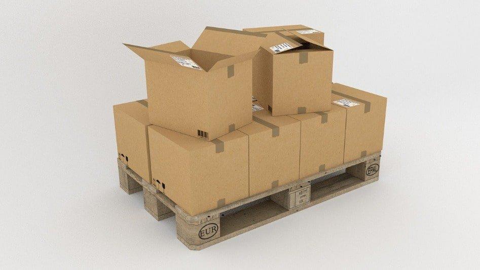 Pallet met dozen